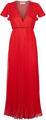 Traffic People Breeze Pleated Midi Dress In Red