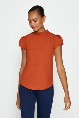 Coast Short Sleeve Frill Neck Top