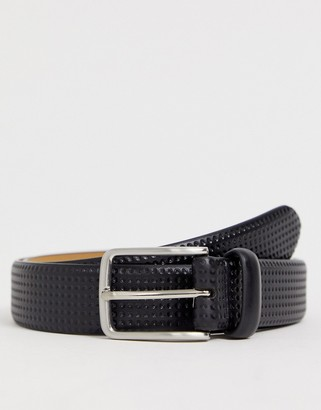 Original Penguin smart embossed leather belt in black