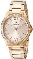 Titan Women's 9955WM01 Purple Analog Display Quartz Rose Gold Watch