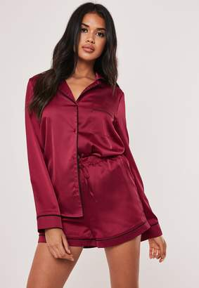 Missguided Burgundy Satin Pyjama Shorts