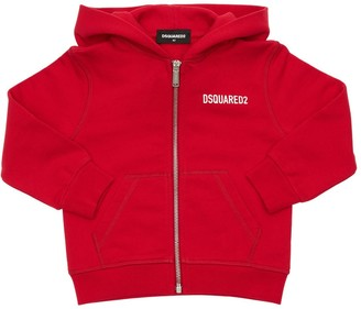 DSQUARED2 Icon Print Zip-up Cotton Hoodie