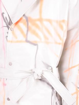 Off-White White Multicolored Futura Trench Coat