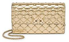 Valentino Women's Garavani Rockstud Spike Metallic Leather Crossbody Clutch