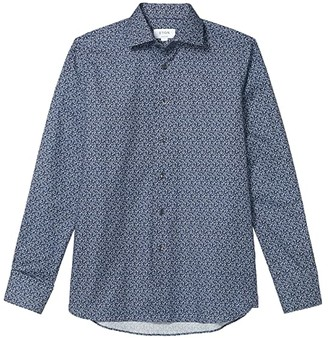 Eton Contemporary Lightweight Leaf Button-Down (Blue) Men's Clothing