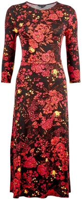 Dorothy Perkins 3/4 Sleeve Floral Midi Dress - Red