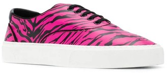 Saint Laurent Pink Zebra Print Lace-up Sneakers