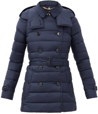 Burberry Arniston Short Double-breasted Quilted Coat - Navy