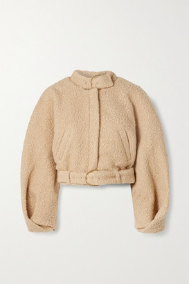 Cult Gaia Joan Buckled Cropped Boucle Bomber Jacket - Beige