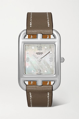 HERMÈS TIMEPIECES Cape Cod 23mm Small Stainless Steel, Leather, Mother-of-pearl And Diamond Watch - Silver