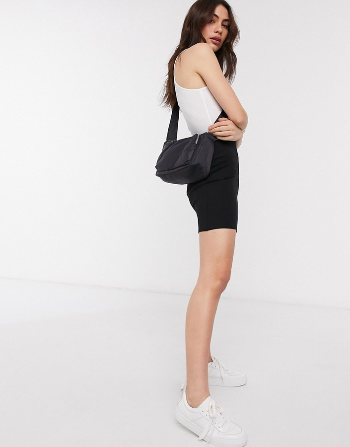 Monki Daria jersey mini skirt with splits in black