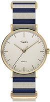 Timex Weekender Fairfield Womens Blue and White Stripe Fabric Strap Watch