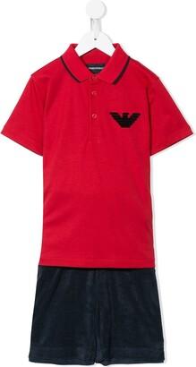 Emporio Armani Kids Polo Shirt Tracksuit Set