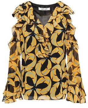 Diane von Furstenberg Cold-shoulder Ruffled Printed Georgette Blouse