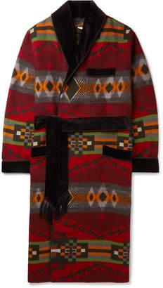 Ralph Lauren RRL Velvet-Trimmed Cotton And Wool-Blend Jacquard Robe