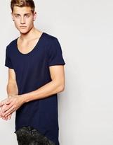 Jack & Jones Longline Scoop Neck T-shirt With Curved Hem - Blue