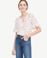 Ann Taylor Tall Floral Pintucked Flutter Sleeve Top