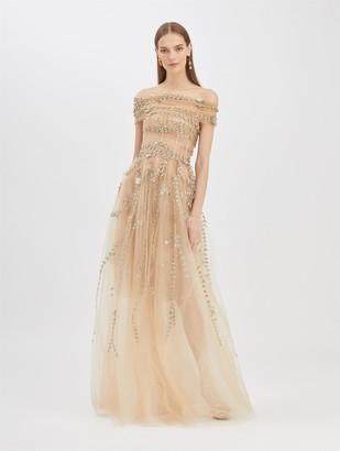 Oscar de la Renta Tulle Off Shoulder Gown