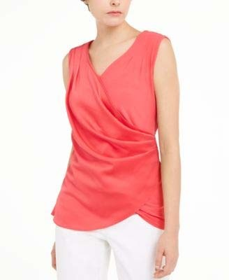 Alfani Womens Pink Solid Sleeveless V Neck Wrap Top UK Size:16