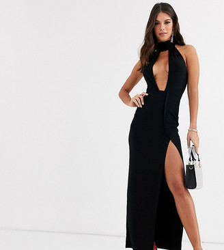 Asos DESIGN Tall going out deep plunge maxi dress in black