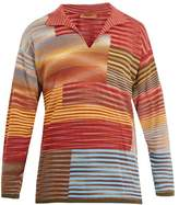 Missoni Long-sleeved Open-neck Stripe Sweater