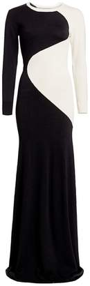 Victor Glemaud Two-Tone Long-Sleeve Knit Wool Column Gown