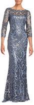 Tadashi Shoji Three-Quarter Sleeve Sequined Lace Gown