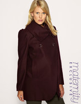 Maternity Funnel Neck Wrap Coat Exclusive to ASOS