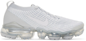 Nike White and Grey Air Vapormax Flyknit 3 Sneakers