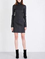 Helmut Lang High neck leather mini dress