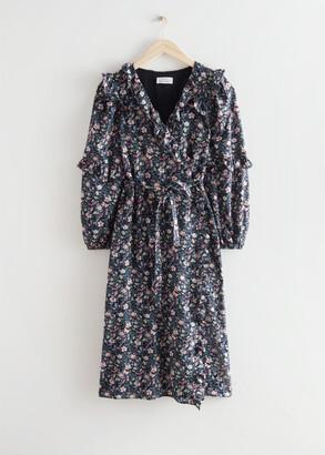 And other stories Voluminous Ruffle Wrap Midi Dress