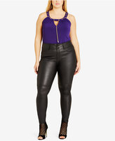 City Chic Trendy Plus Size Faux-Leather Skinny Pants