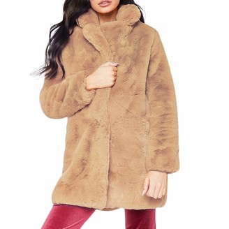 Toamen Women's Top Toamen Womens Coat Sale Clearance Winter Warm Luxurious Faux Fur Long Jacket Outerwear Overcoat(Khaki 10)