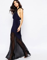 Stone_Cold_Fox The Stone Cold Fox Aquarius Maxi Dress in Navy Silk