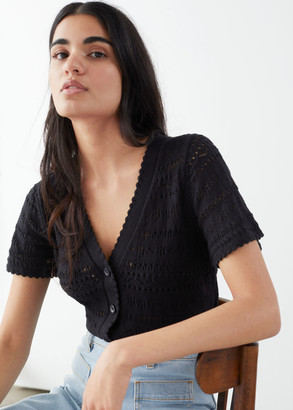 And other stories Cotton Crochet Short Sleeve Cardigan