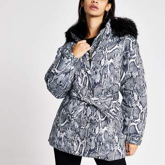 River Island Womens Grey snake print belted puffer jacket