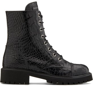 Giuseppe Zanotti Crocodile Embossed Lace-Up Boots