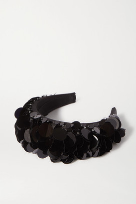Prada Paillette-embellished Satin Headband - Black