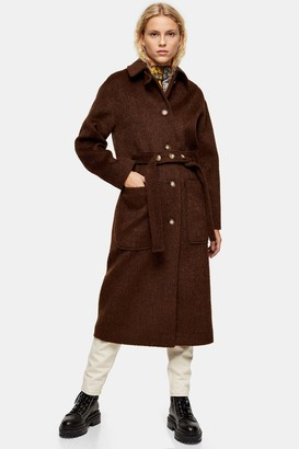 Topshop Brown Brushed Coat
