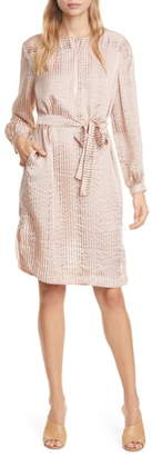 Dolan Rachel Metallic Stripe Long Sleeve Silk Shirtdress