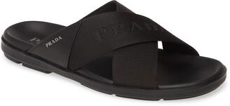 Prada Spazzolato Slide Sandal