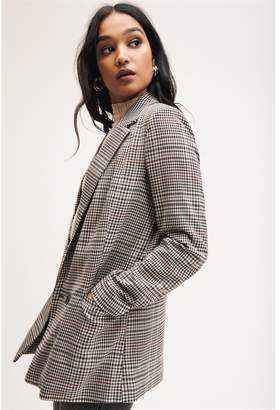Dynamite Double-breasted Blazer Pink/Burgundy/Black Houndstooth