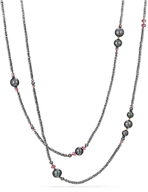 David Yurman Oceanica Tweejoux Necklace with Dyed Cultured Freshwater Gray Pearls, Hematine and Rhodolite Garnet