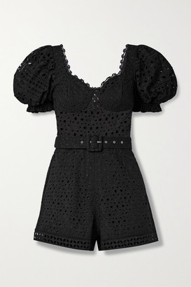 Charo Ruiz Ibiza Peggi Belted Broderie Anglaise Cotton-blend Playsuit - Black