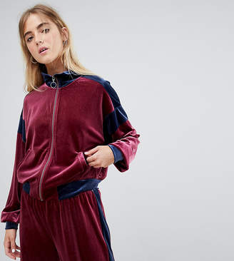 Weekday co-ord colour block velvet track top