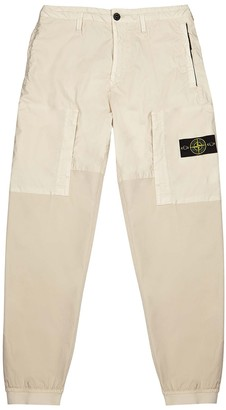 Stone Island Mussola Gommata cream cotton-twill trousers