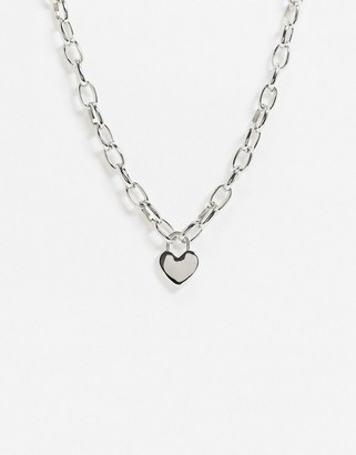 Topshop chunky silver necklace with heart pendant