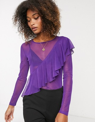 Ichi ruffle mesh long sleeve top-Purple