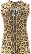 Dolce & Gabbana leopard print cashmere tank top