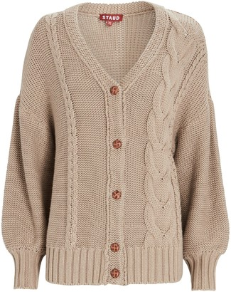 STAUD Blake Oversized Cable Knit Cardigan